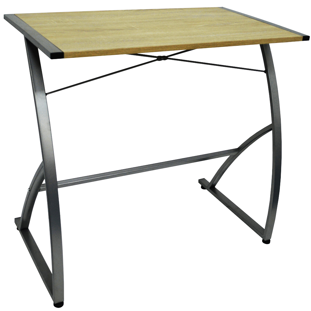 WATSONS - Compact Office Workstation / Computer Desk - Oak/Silver