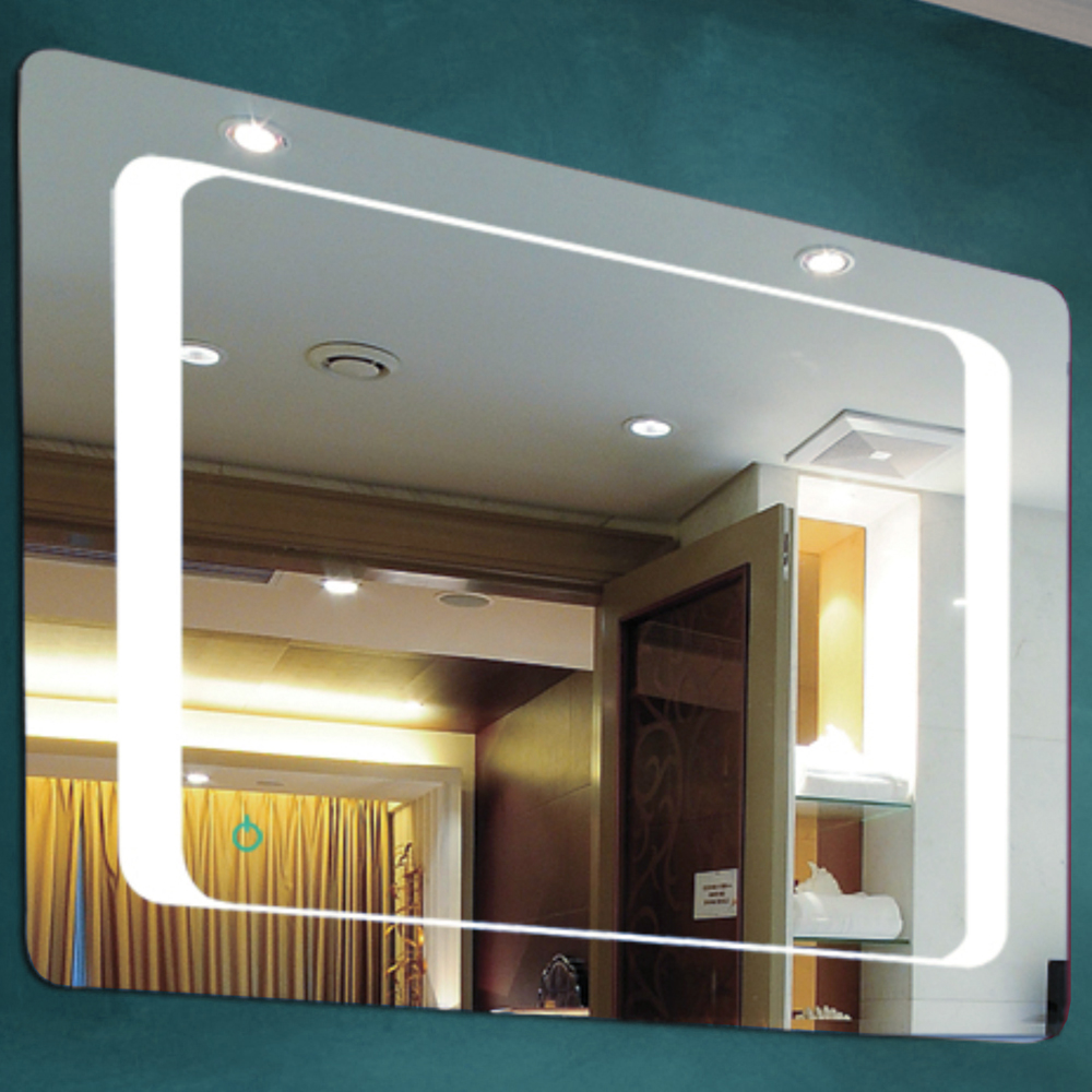 Kube led illuminated 80 x 60cm rectangular wall mirror for Mirror 60cm wide