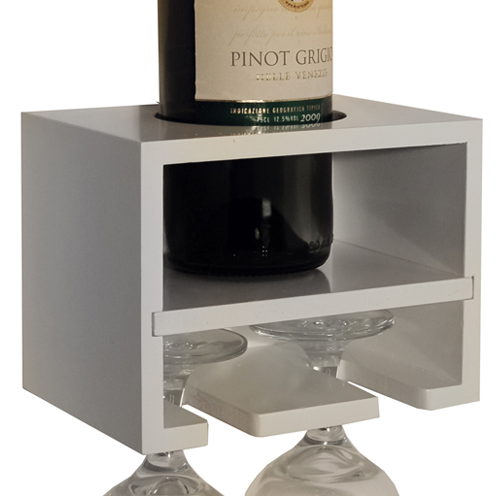 CABERNET - Wall Mounted Floating Wine Bottle / 2 Glass Rack - White