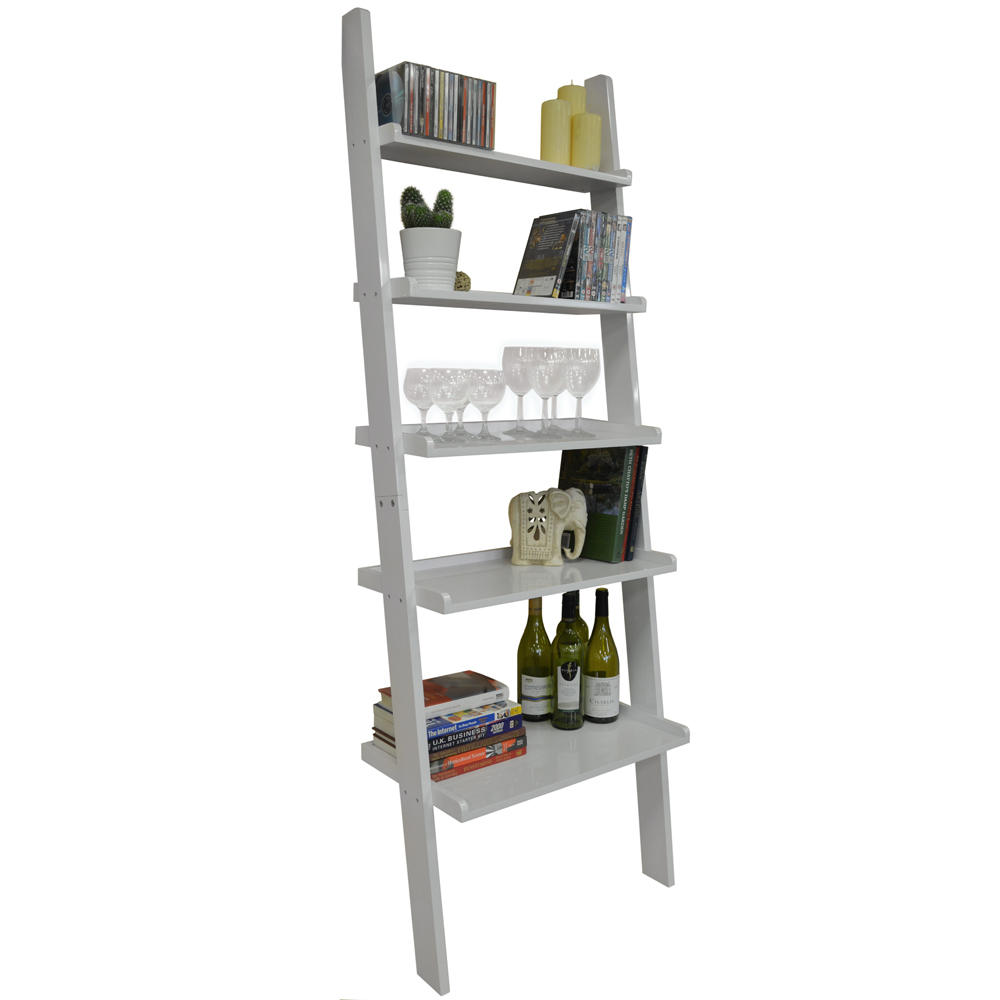 OATES - Ladder 5 Tier Wall Leaning Storage Shelves - Gloss White
