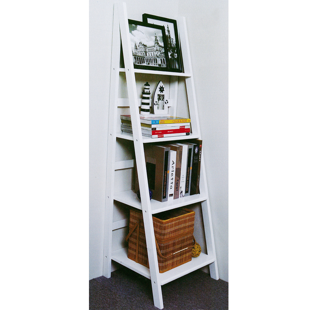 SCOTT - Ladder 4 Tier Gloss Storage / Display Shelves - White
