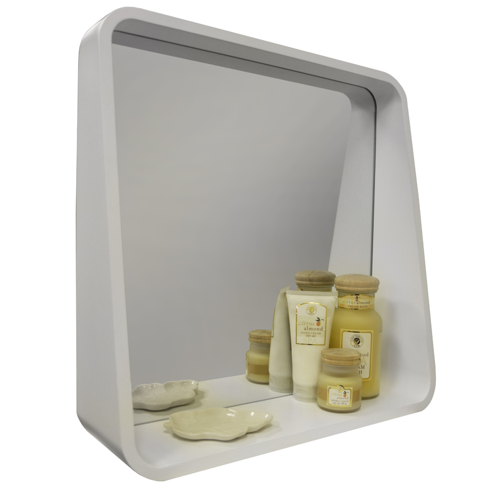HYPOTEN - Retro 52cm Wall Mounted Cube Storage Shelf with Mirror - White