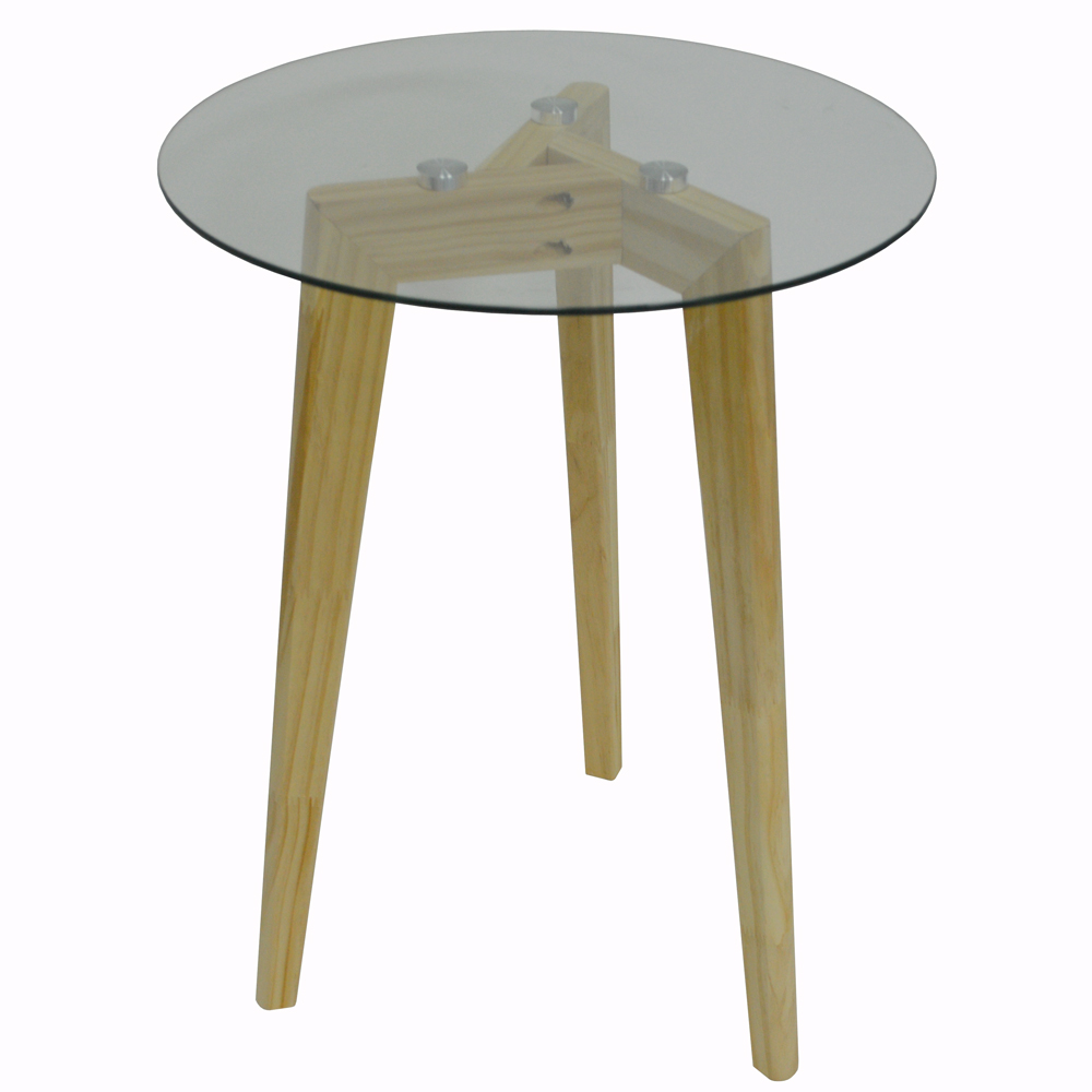 Luna retro solid wood tripod leg and round glass end - Glass side tables for living room uk ...