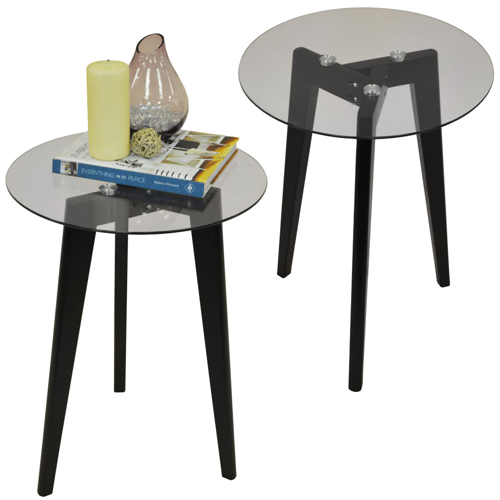 LUNA - PACK OF TWO - Retro Solid Wood Tripod Leg and Round Glass End / Side Table - Black / Clear