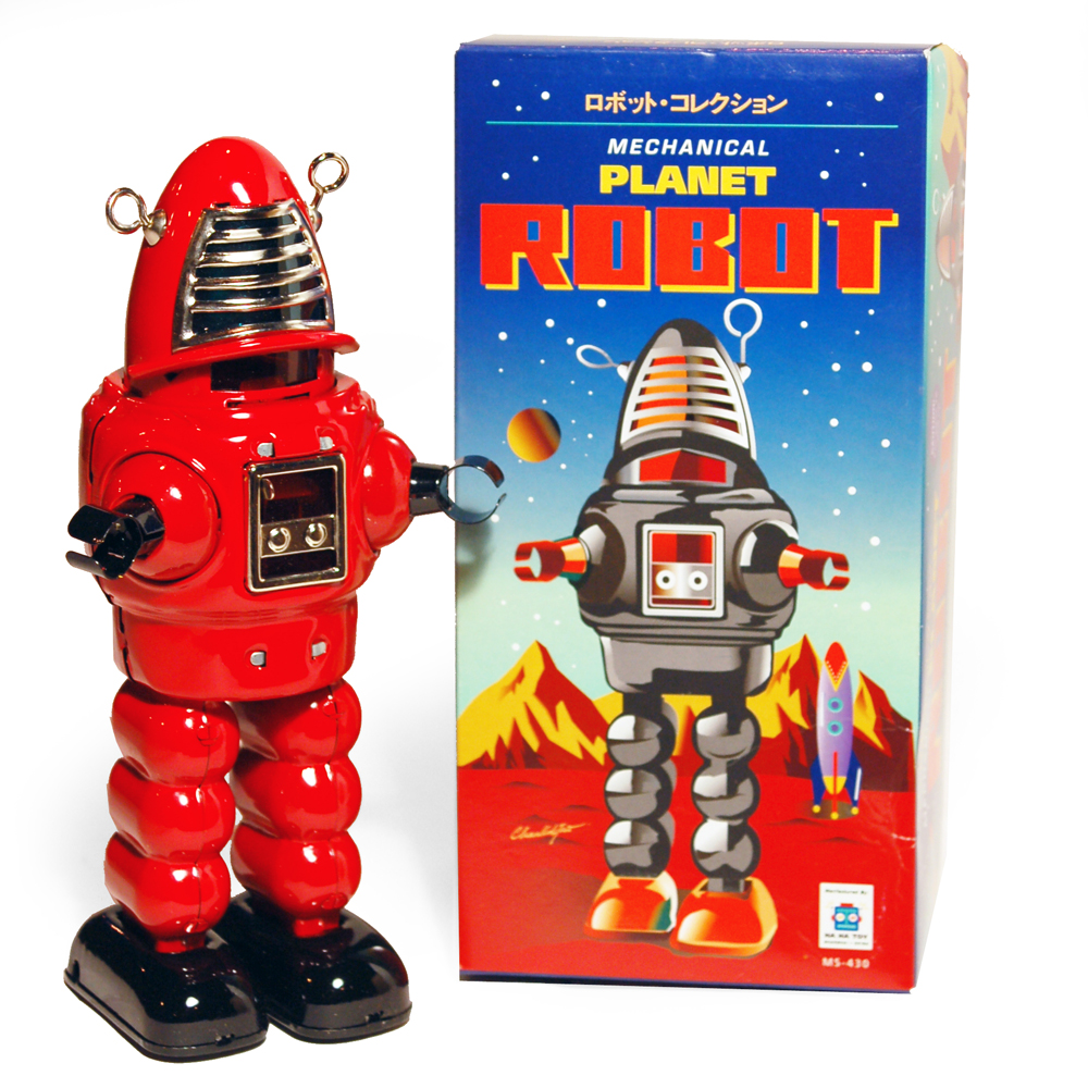 ROBOT ROBBY STYLE SPACE - Retro Tin Collectable Ornament - Red