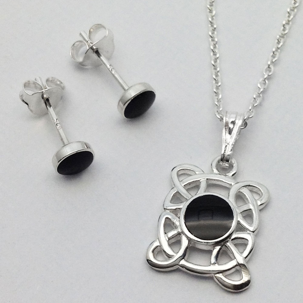 WHITBY JET - Celtic Square Necklace + Round Stud Earring Set - Sterling Silver / Black