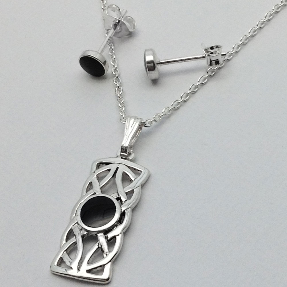 WHITBY JET - Celtic Rectangle Necklace + Round Stud Earring Set - Sterling Silver / Black