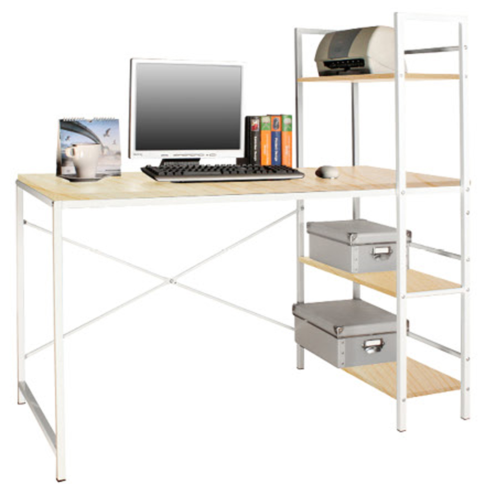 WICKFORD - Workstation / Office Desk with Storage Shelves - Maple