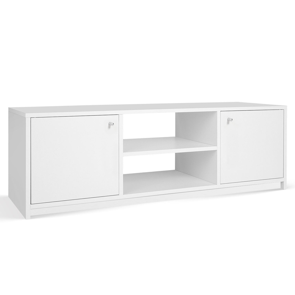 MODERN - TV Stand / Entertainment Unit with 2 Storage Cupboards - White