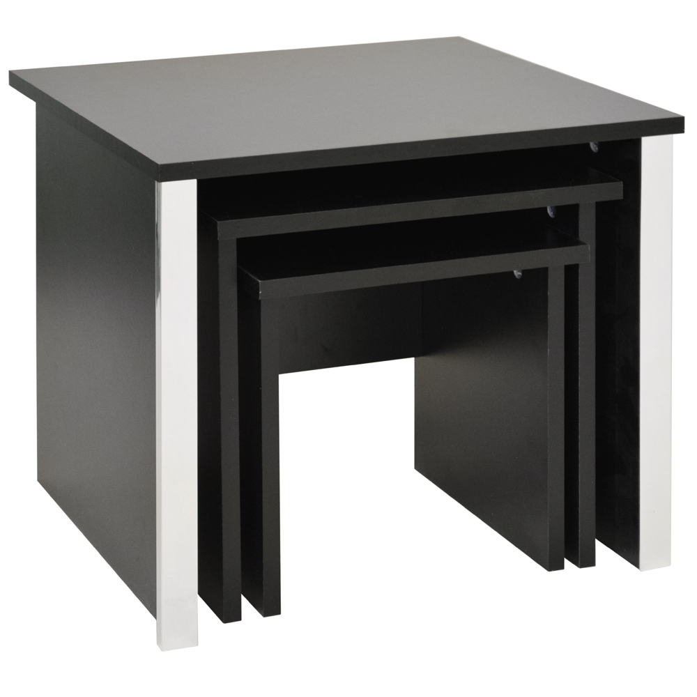 COLUMN - Modern Nest of Three Tables - Black Ash / Chrome