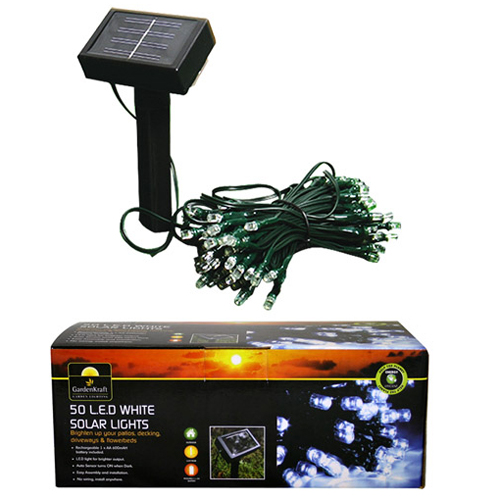 BRIGHT - 50 LED Outdoor Garden Remote Control Solar Fairy Lights - White