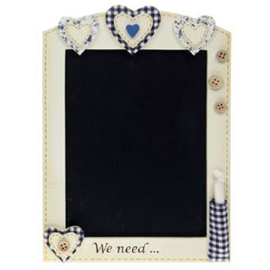 HOMELY - Heart Wall Mounted Blackboard / Chalkboard - Cream / Blue