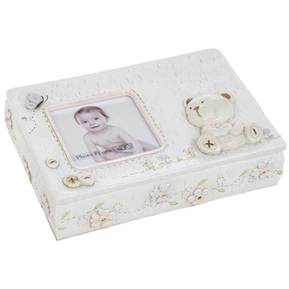 BABY BEAR - Girls Teddy Bear Keepsake / Storage Box with Photo Frame - Cream