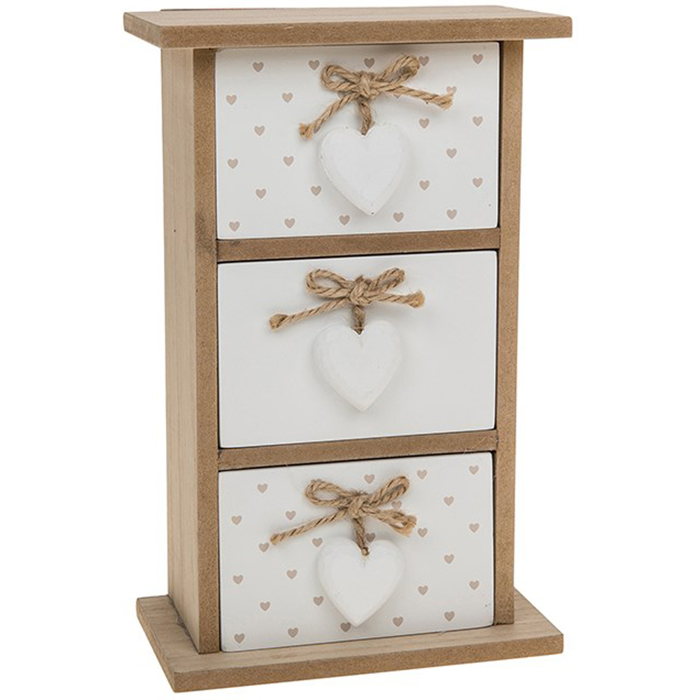 PROVENCE - Three Drawer Storage Chest / Jewellery Box - Brown /White
