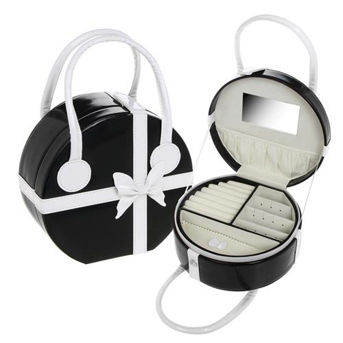 CHIC - Large 21cm Round Travel Jewellery Box / Bag - Black / White