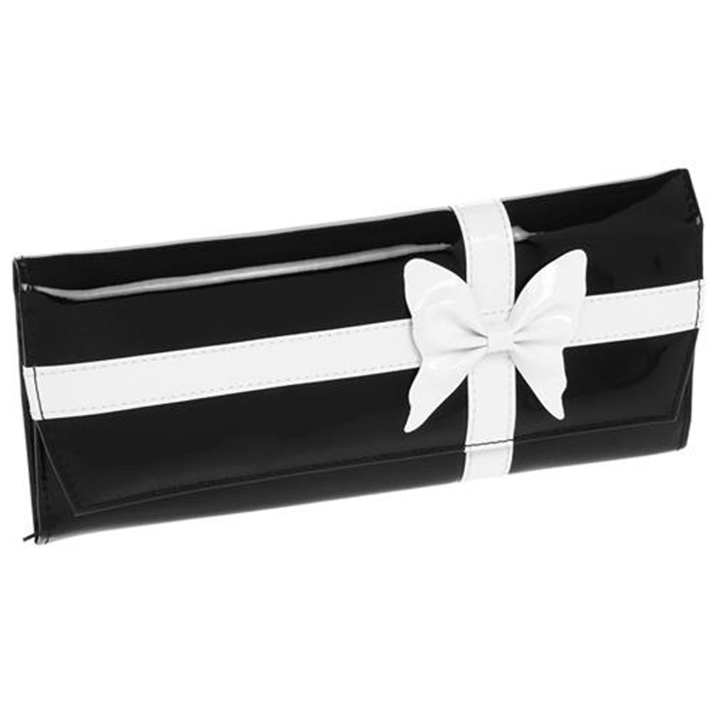 CHIC - Large Jewellery Travel Storage Purse / Bag - Black / White