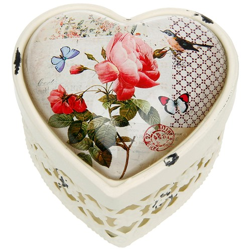VIGNETTE - Heart Decorative Antique Style Storage Box  - Cream / Multi