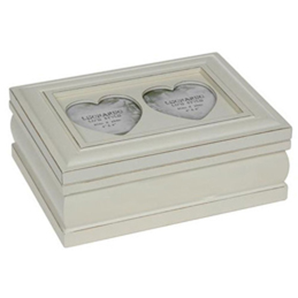 Collect Rustic Shabby Chic Heart Box With Double Photo Frame Lid