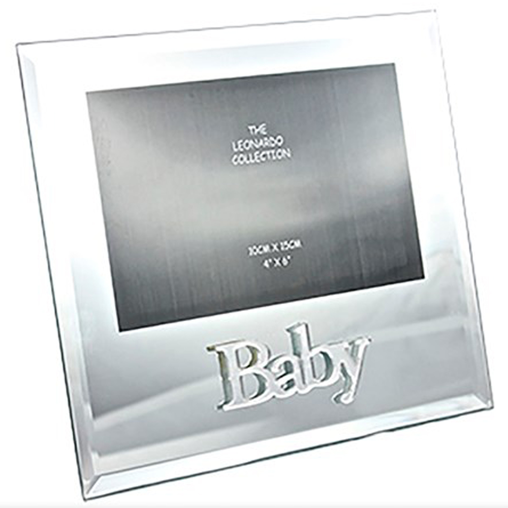 BABY - Mirror Glass Single 6 x 4 Etched Photo Frame - Silver