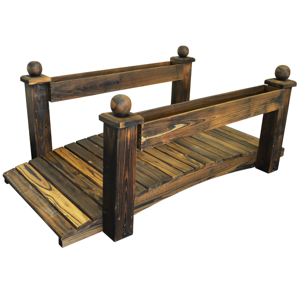 Garden Bridge with 2 Planters - Outdoor Solid Wood Decoration