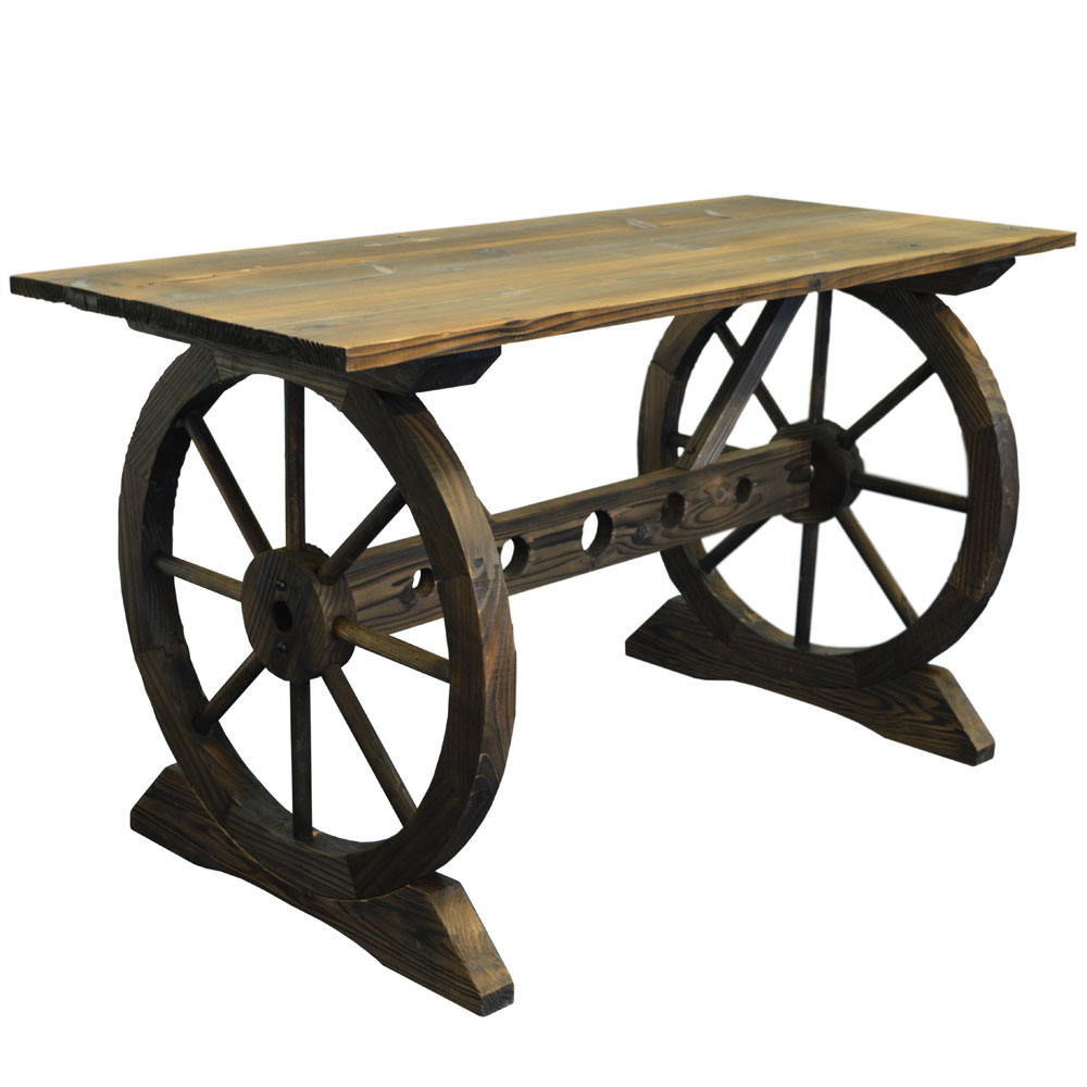 Garden Cartwheel Table - Outdoor Solid Wood