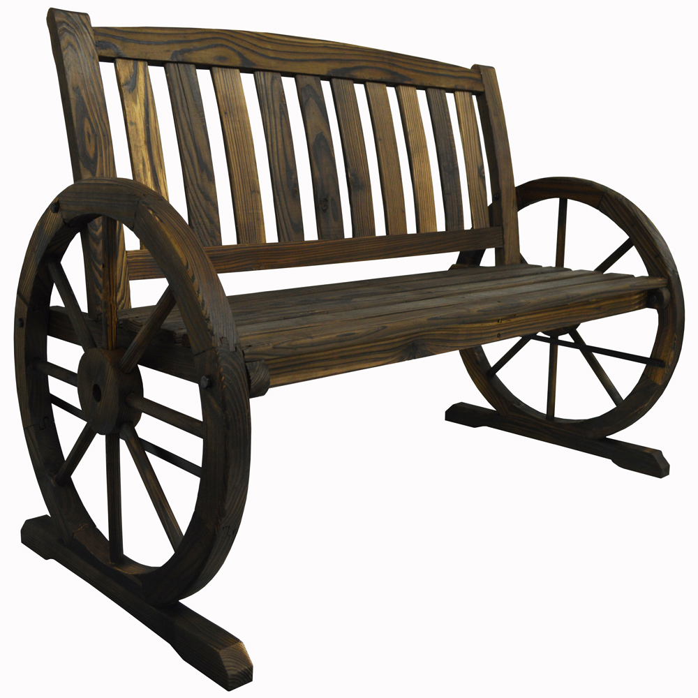 Garden Cartwheel Bench 2 Seater - Outdoor Solid Wood