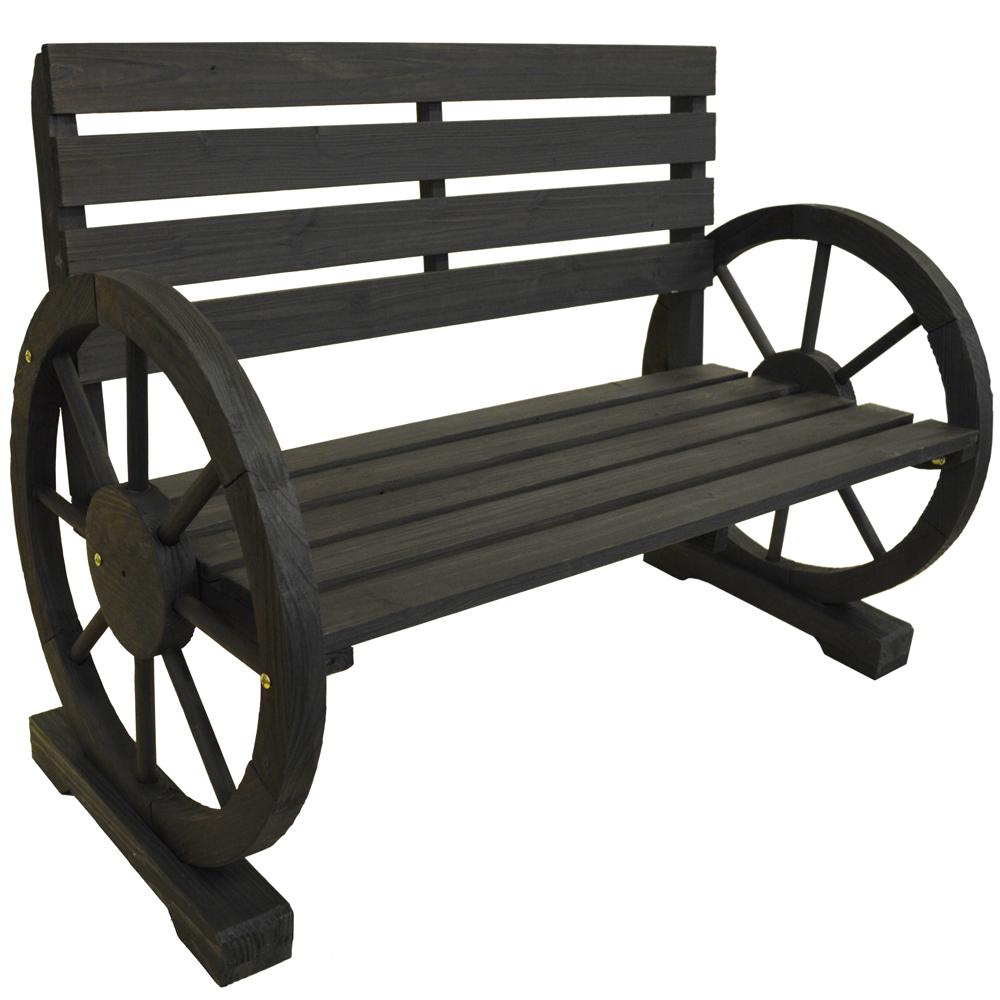 Cartwheel Solid Wood Double Garden Bench Seat Dark