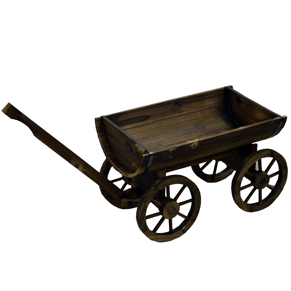 CART - Solid Wood Rustic Garden Flower Planter / Pot - Burntwood