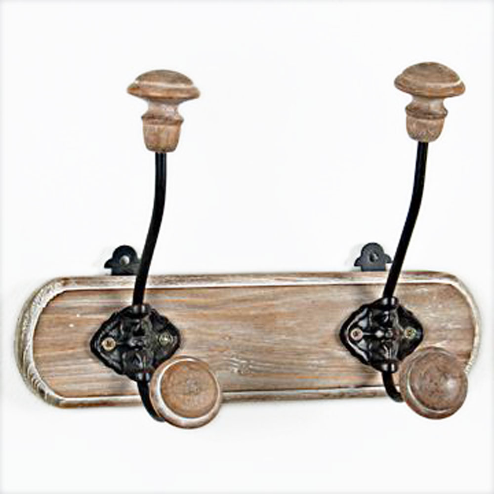 CABIN - Wall Mounted Wood and Metal 2 Double Coat / Towel Hooks - Brown / Black