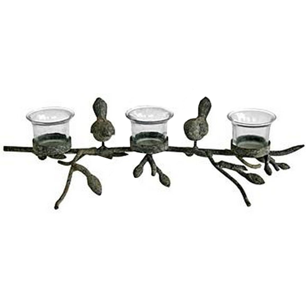 CHIRPY - Bird and Branch Triple Metal and Glass 3 Tea light / Candle Holder - Black