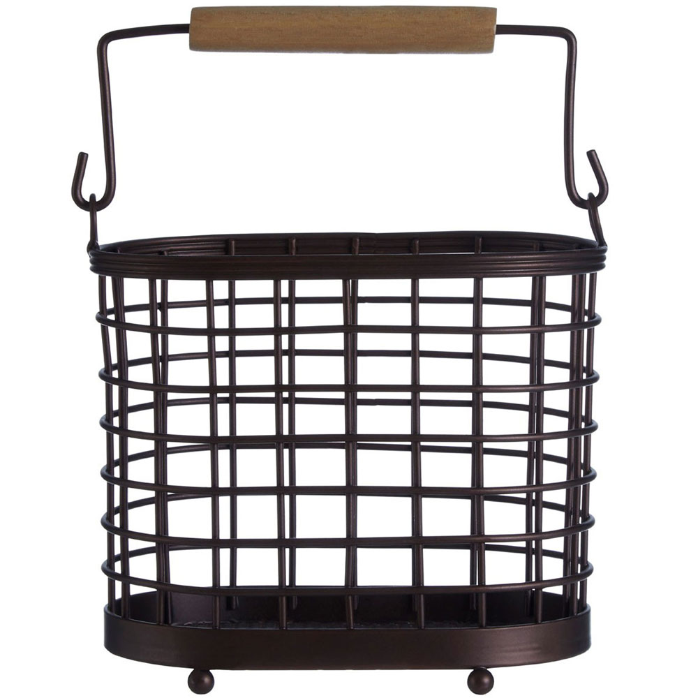 Metal and Wood Kitchen Utensil Holder / Storage Basket with Handle - Black / Brown
