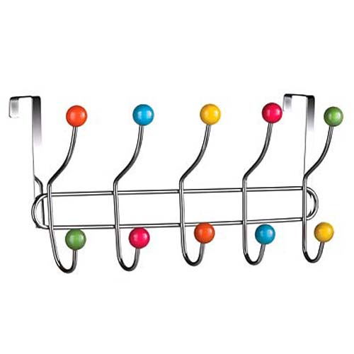 SPUTNIK - Over Door 10 Hook Rack / Towel Rail - Multi-coloured