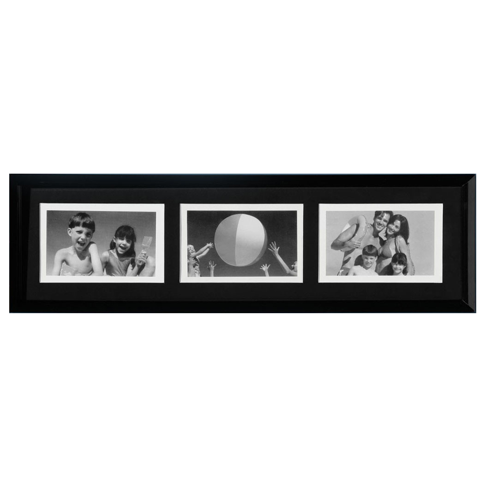 COLLAGE - Wall Mounted Photo Frame - with Three 6x4 Apertures - Black