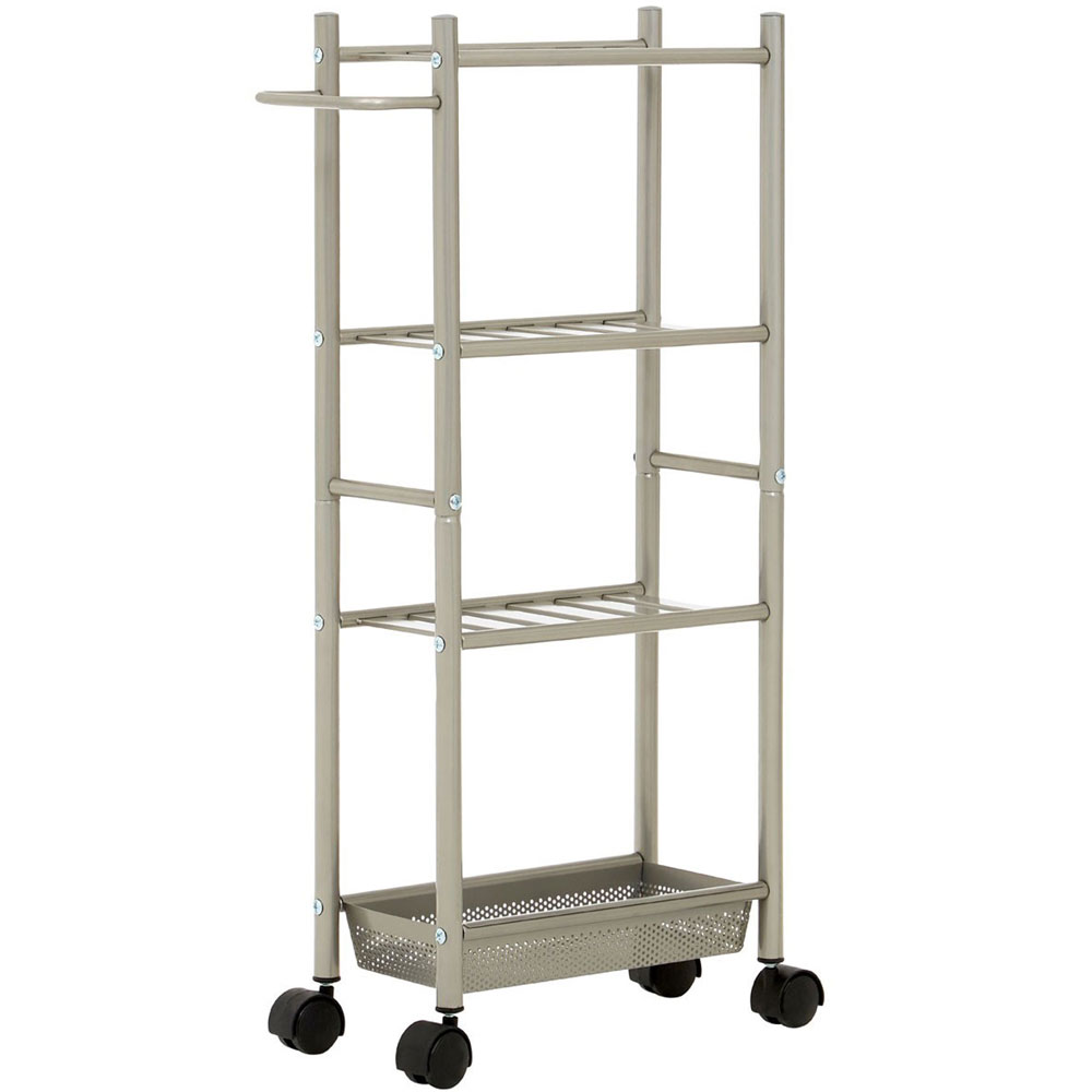 4 Tier Metal Trolley Basket with Towel Rail and Basket - Nickel