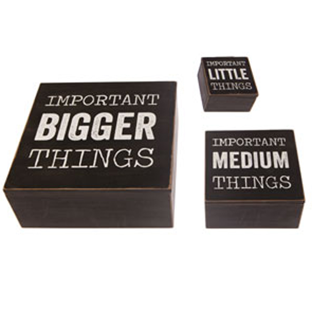 THINGS - Set of 3 Wood Square Organiser Storage Boxes - Black /Brown / White