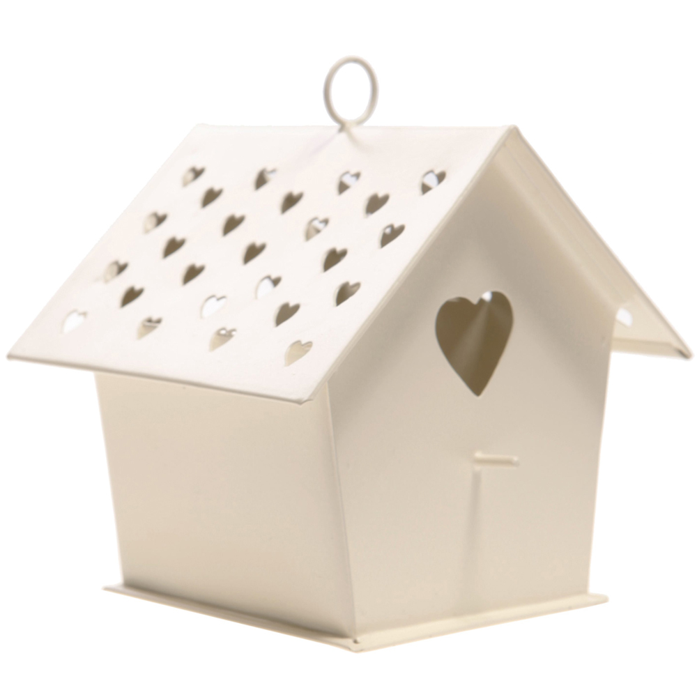HEART - Bird House Hanging Tea light Holder - Cream
