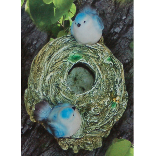 TWEET - Hand Crafted Bird Nest Garden Ornament - Blue