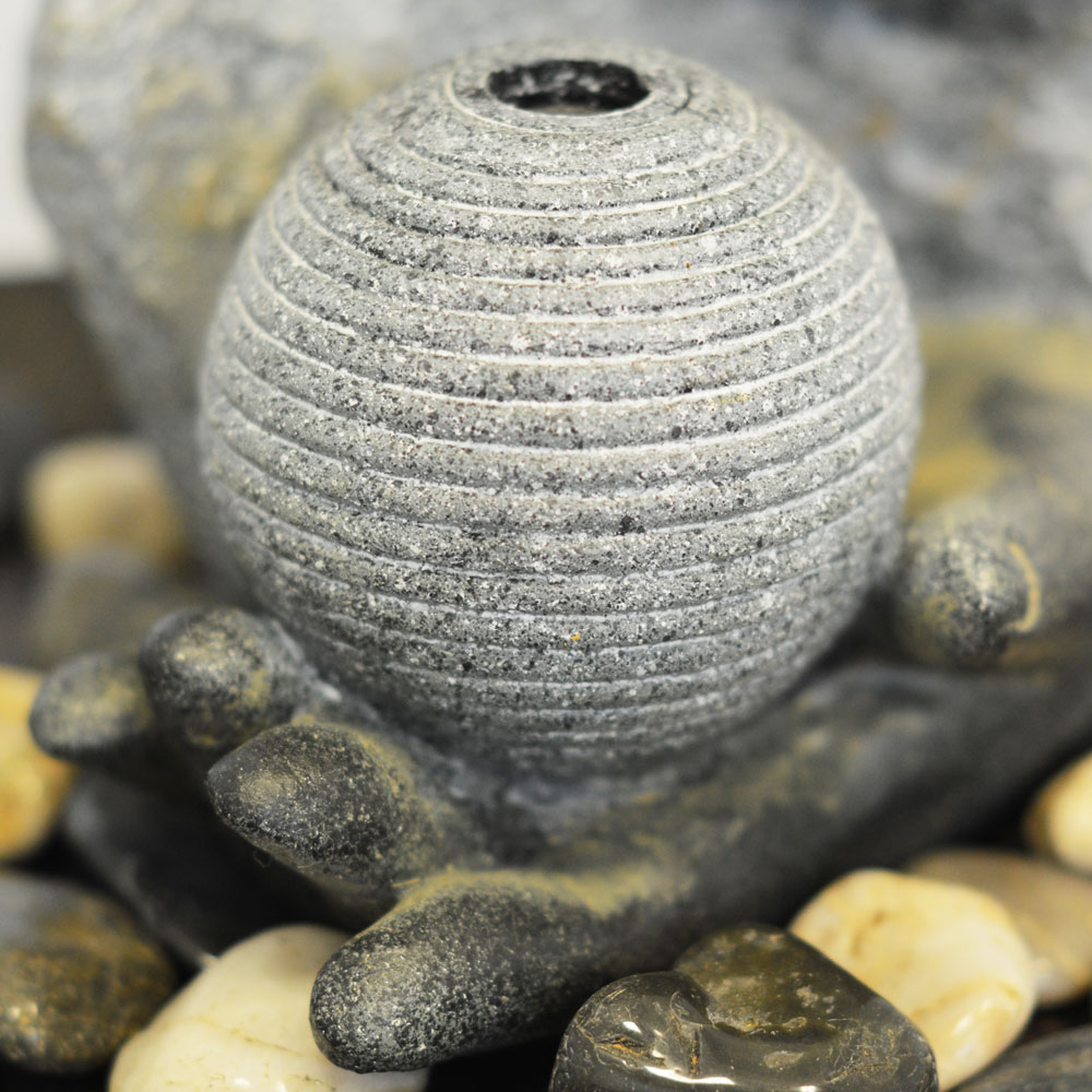 Wildlife Pond Surrounded By Pebbles: Buddha Plaque Tabletop Indoor Fountain / Water Feature