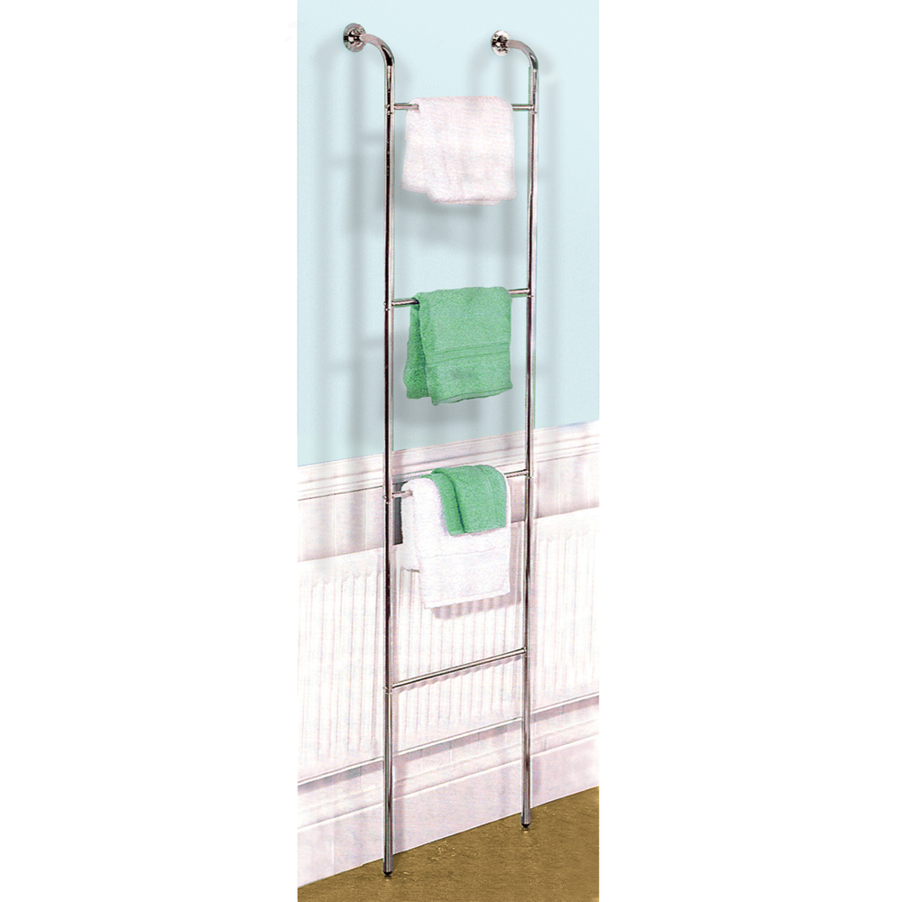 Ladder Chrome Metal Wall Mounted 4 Rung Towel Rail