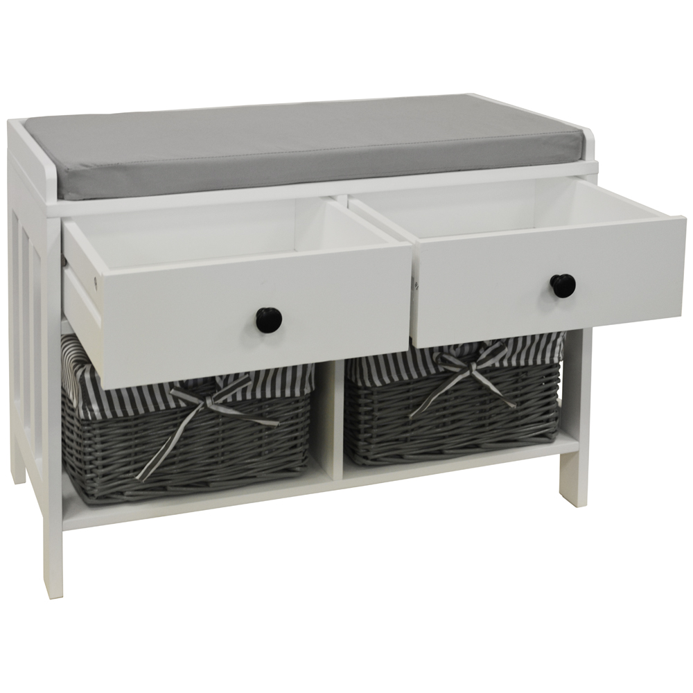 Double Storage Shoe Storage Bench With Two Drawers And