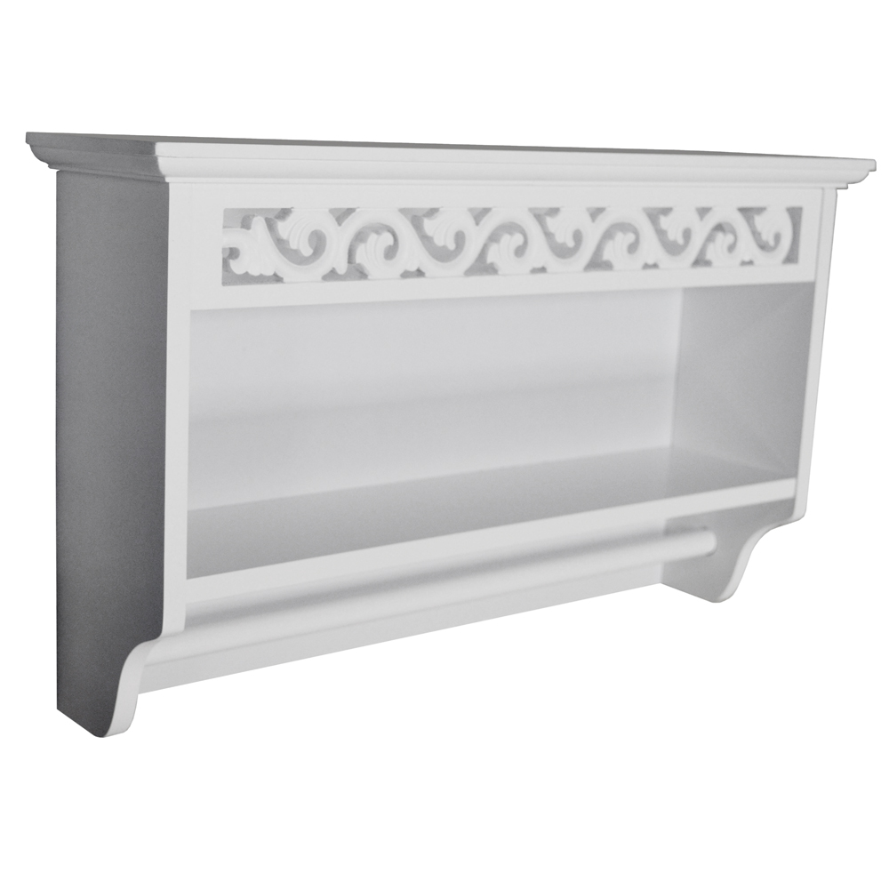 SCROLL - Wooden Wall Mounted Towel Rail with Shelf - White ...