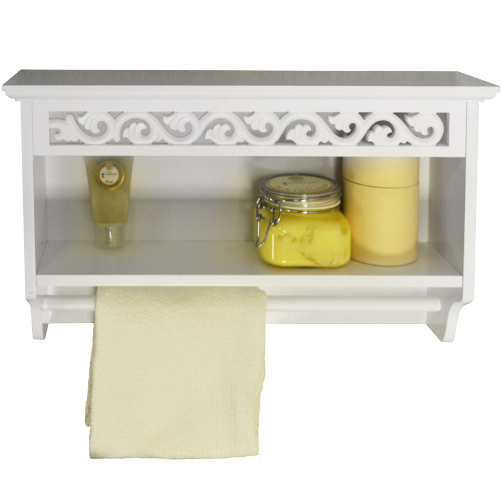 Wooden Wall Mounted Towel Rail With Shelf
