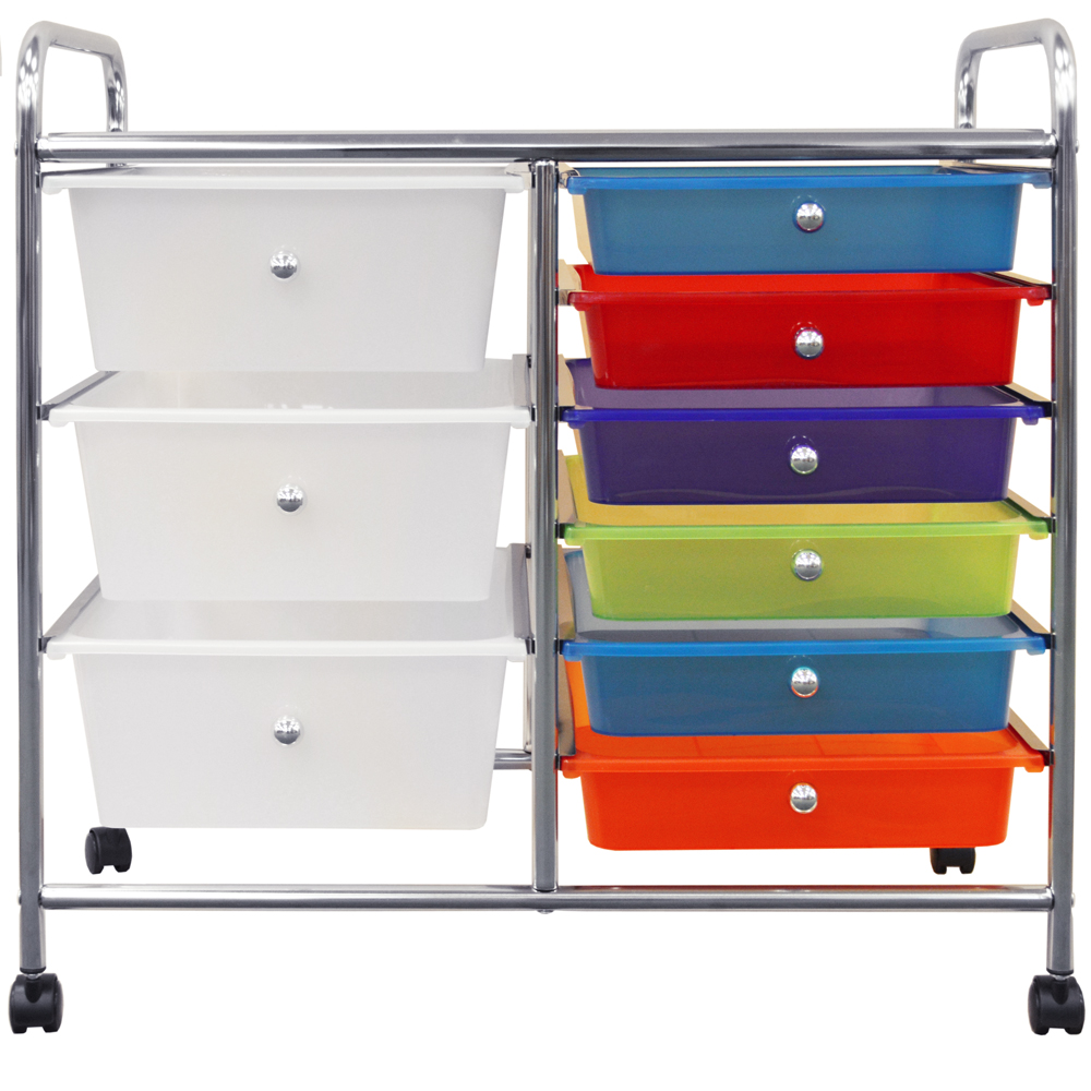 Compact Metal And Plastic 9 Drawer Storage Trolley