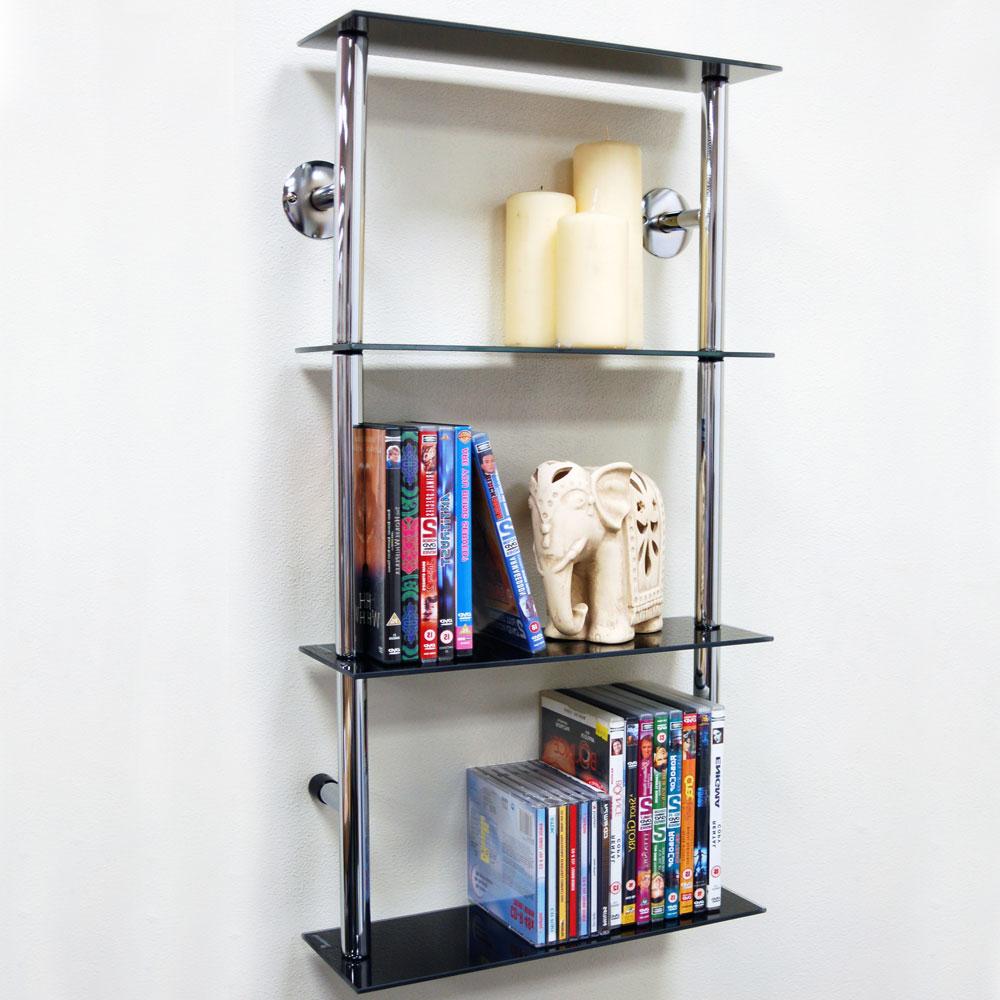 Wall Mounted Glass 90 CD / 60 DVD Storage