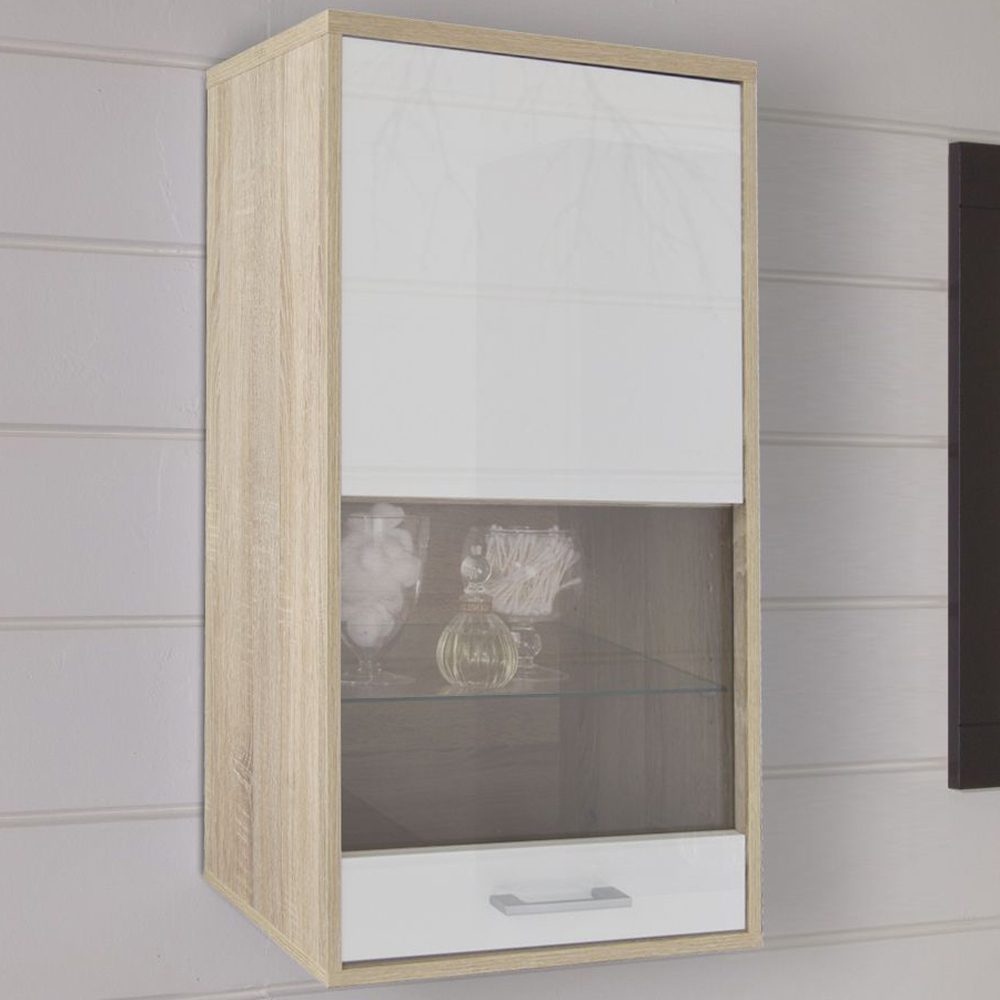 Contemporary Wall Floor Storage Cabinet With Glass