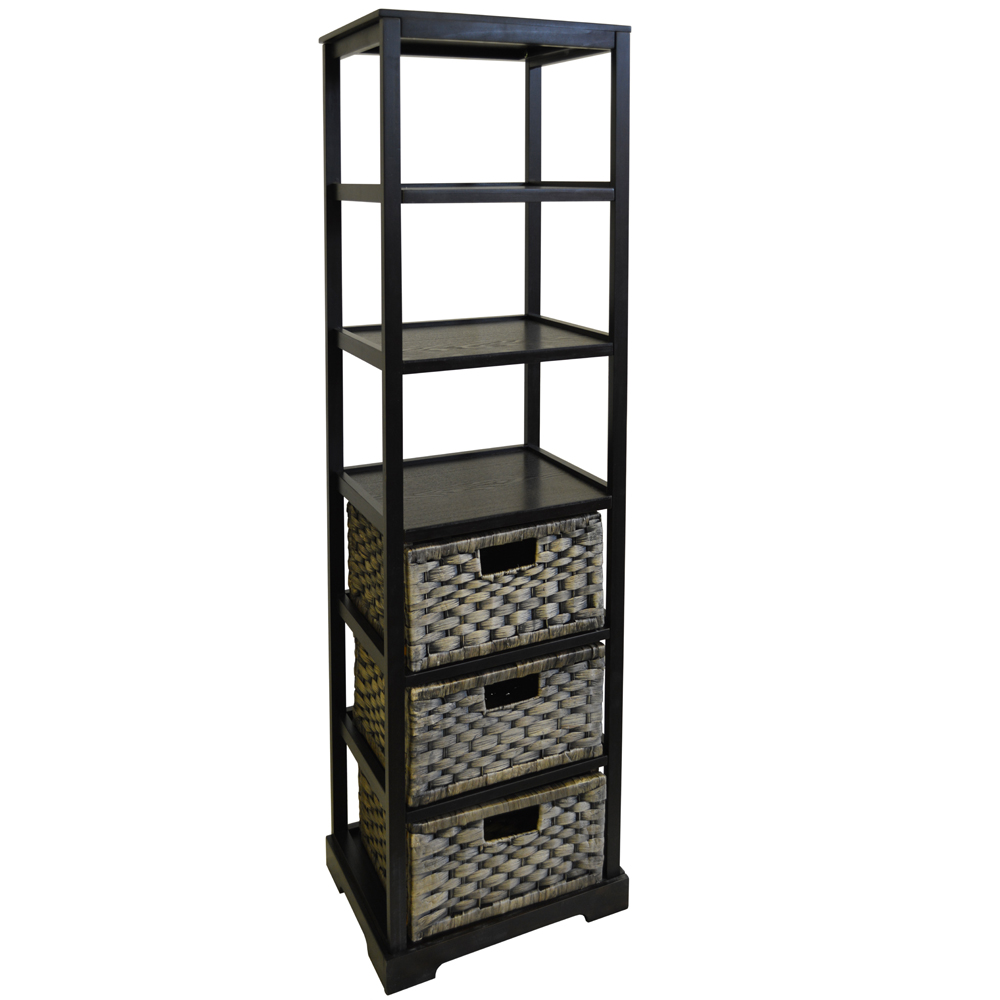Miami tall 6 cubby 3 drawer storage tower shelves brown black watson s on the web