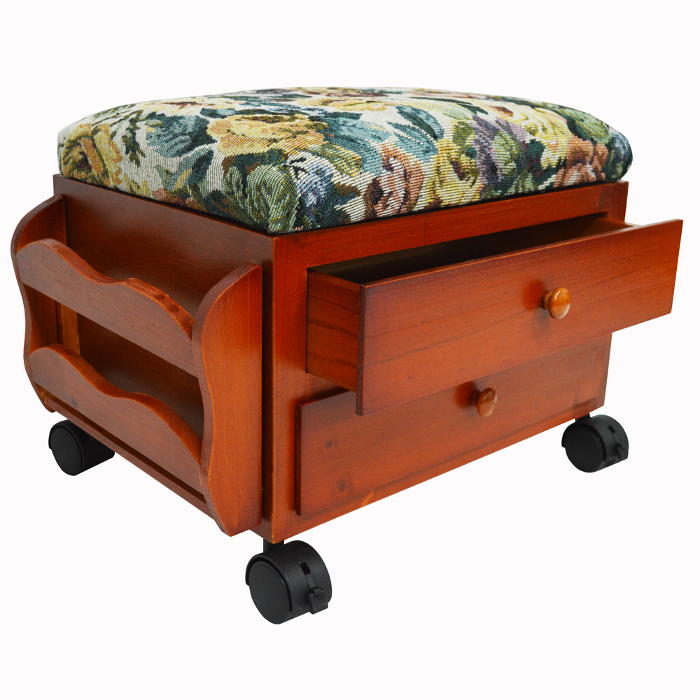 Atessa Padded Footstool Sewing Box With Drawers And