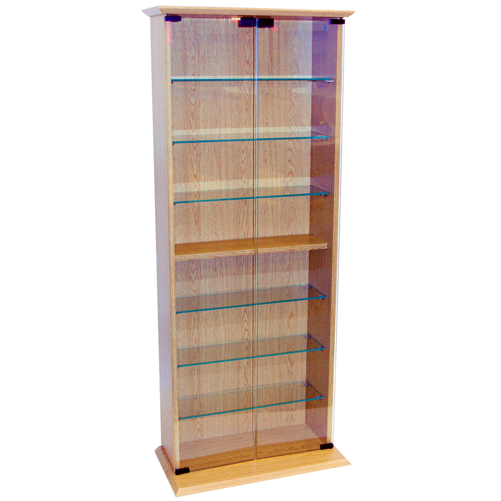 Boston 116 Dvd 316 Cd Book Storage Shelves Glass Collectable Display Cabinet Beech