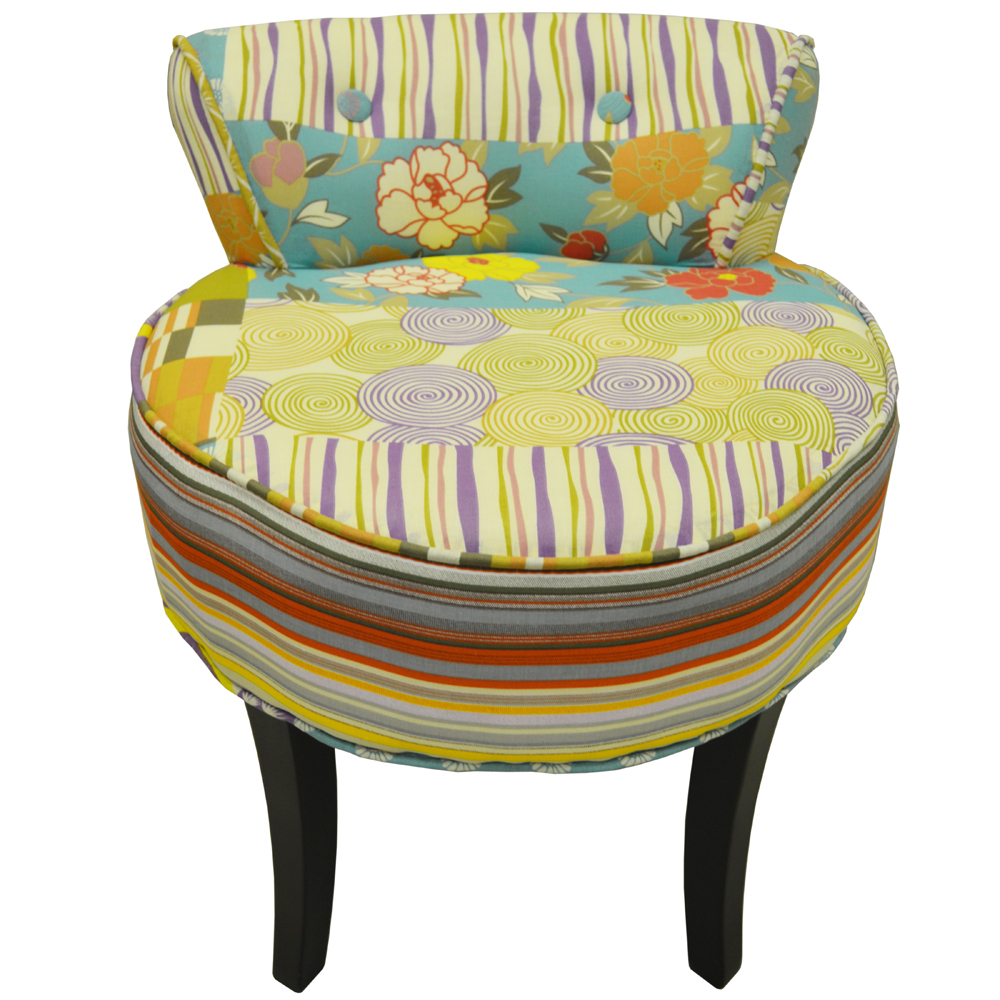 Patchwork Shabby Chic Chair Padded Stool Wood Legs