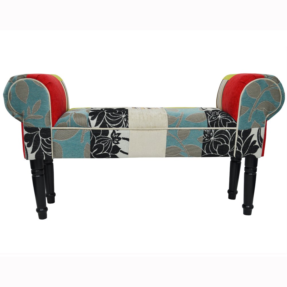 Plush patchwork shabby chic chaise pouffe stool wood for Chaise patchwork